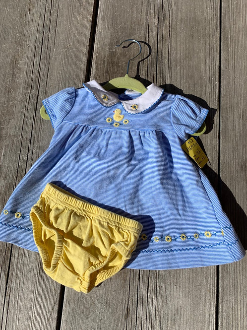 Size NB CARTER'S Blue and Yellow Duckie Dress, Used