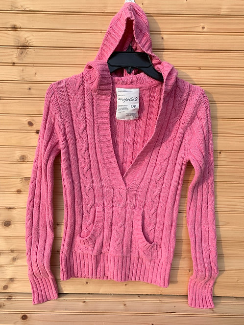Size S/P Young Adult AEROPOSTALE Pink Cable Knit Hoodie Sweater