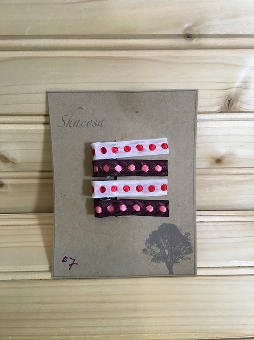 One Size SHACOSA New 4-Pack Hair Clips White Red Pink Brown