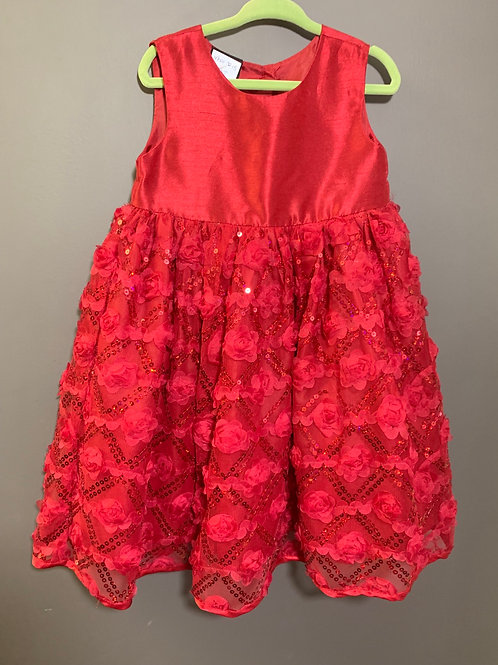 Size 3T HOLIDAY EDITIONS Bright Red Rose Dress
