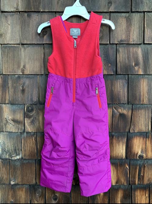 Size 3T WHITE SIERRA Purple and Red Bib Snowpants