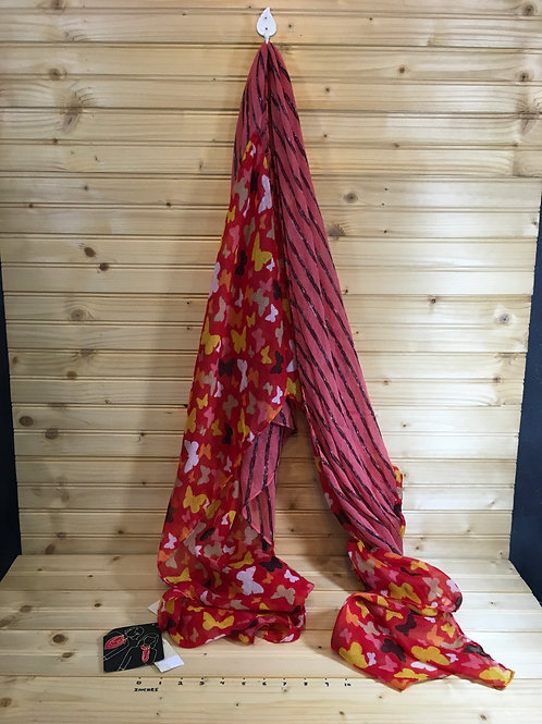 One Size COLLECTION EIGHTEEN New Red Butterfly Scarf