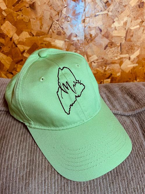 New Youth Baseball Hat - Neon Green Maine