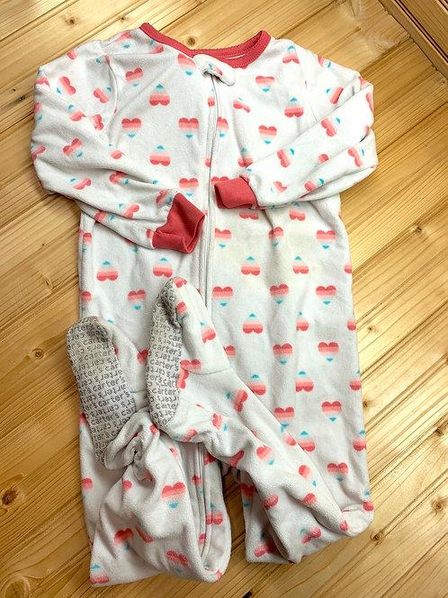 Size 3T CARTER'S Heart Fleece Footie PJ