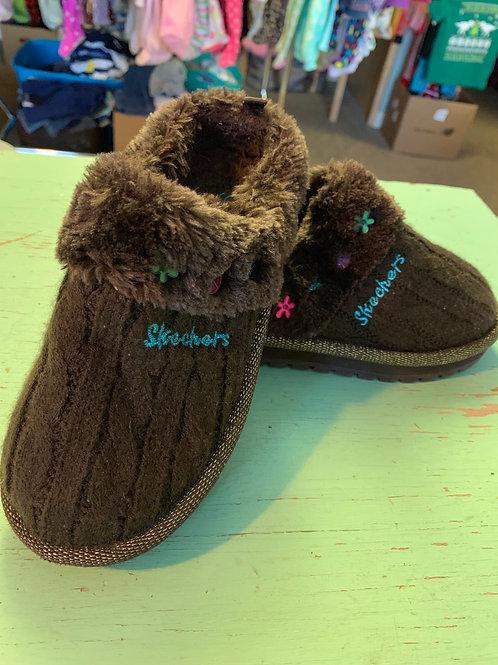 Size 12 Kids SKETCHERS Sturdy Brown Fuzzy Slippers