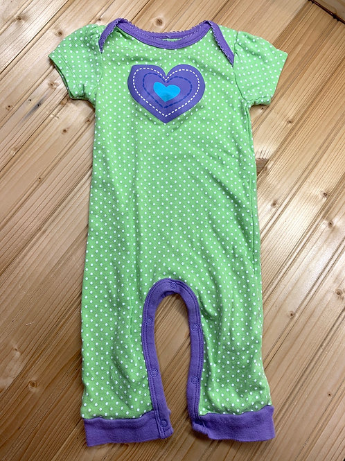 Size 6-9m GERBER Green and Purple Heart Outfit