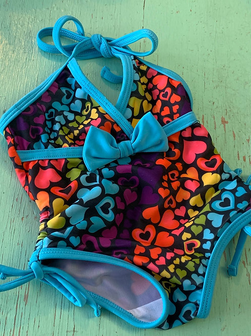 Size 12m Blue Hearts Swimsuit, Used