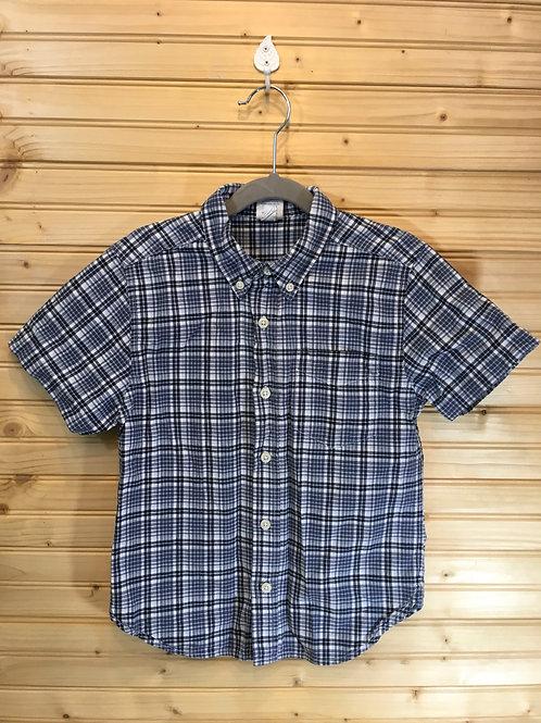 Size 6 Kids OLD NAVY Blue Plaid Short Sleeve Shirt