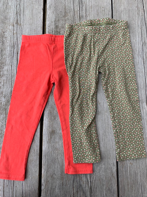 Size 24m CARTER'S Sage Hearts and Coral Leggings, Used