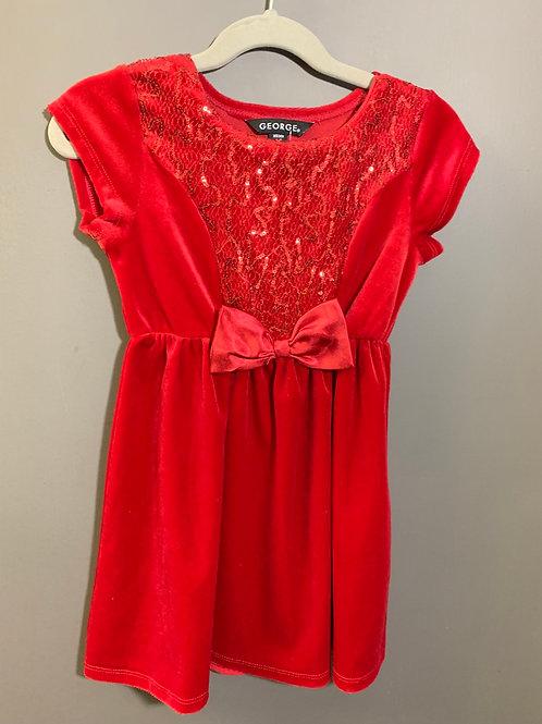 Size 4/5 Girls GEORGE Red Velvet Dress