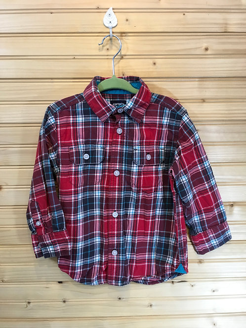Size 4T Kids CARTER'S Red Plaid Long Sleeve Shirt