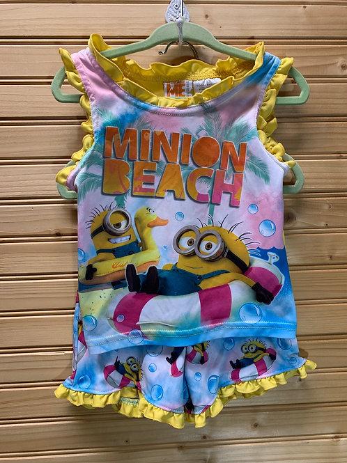 Size 2T Minion Beach Summer PJ Set, Used