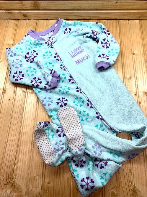 Size 3T CHILDREN'S PLACE Blue and Purple Fleece Footie PJ