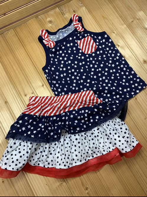Size 2T 2pc American Flag Outfit