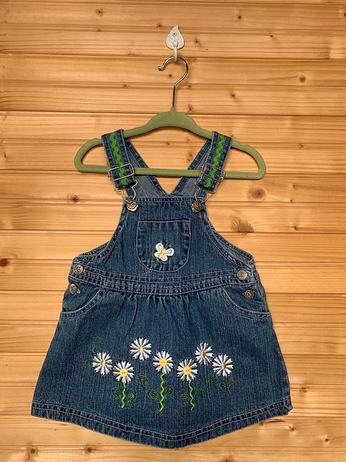Size 12m Jean Overall Skirt with Daisies, Used