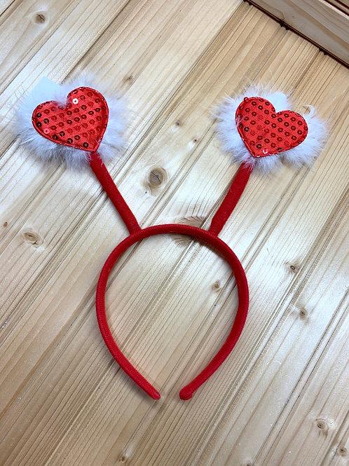 Red Heart Love Bug Antennae Headband