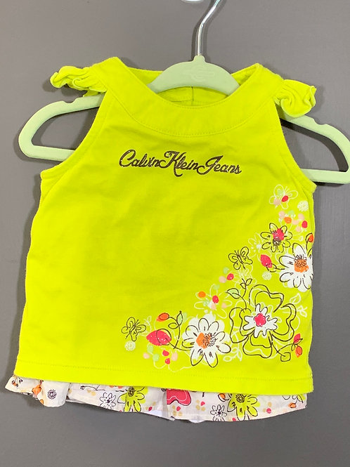 Size 12m CALVIN KLEIN Mustard Yellow and Orange Floral Outfit, Used