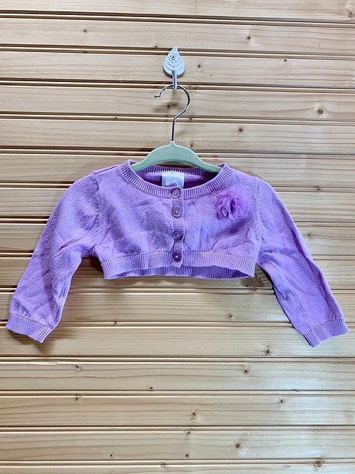 Size 3/6m CHEROKEE Lavender Cropped Cardigan, Used