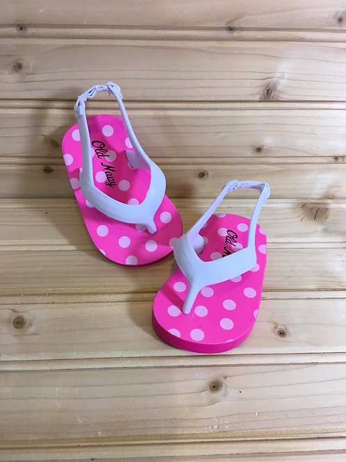 Size 2 Baby Pink and White Flip Flops
