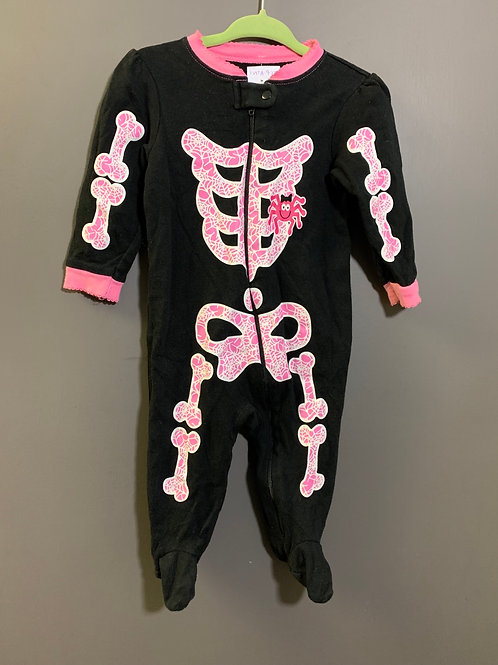 Size 6-9m Pink on Black Glow in the Dark Skeleton PJ
