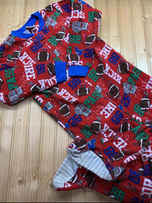 Size 5T WONDER KIDS Red Football Fleece Footie PJ