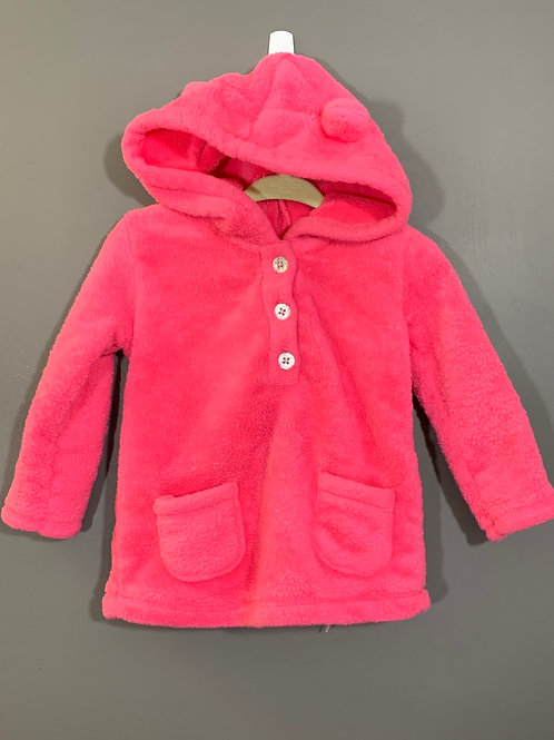 Size 12m CARTER'S Fuzzy Hot Pink Hoodie, Used