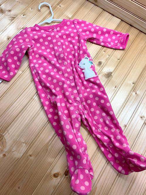 Size 6-9m CARTER'S Pink Mouse Fleece Footie PJ