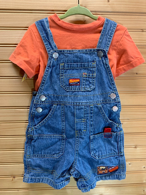 Size 18m DISNEY Cars Mechanic 2pc Overall Outfit, Used