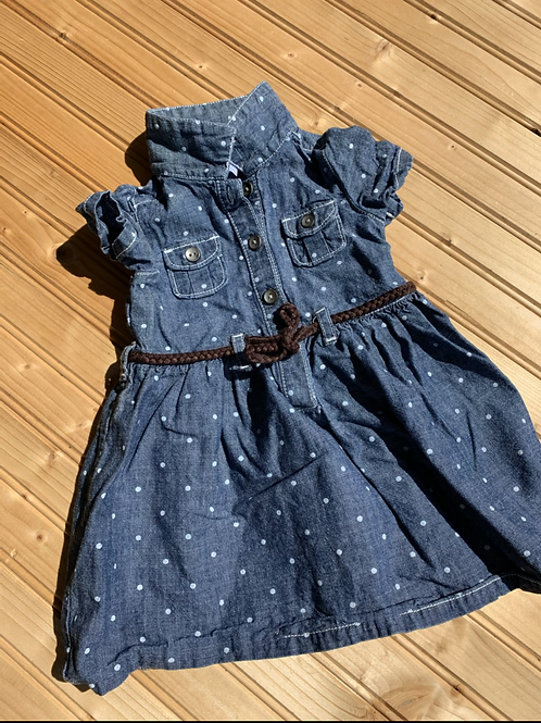 Size 9m CARTER'S Blue Chambray Dress, Used