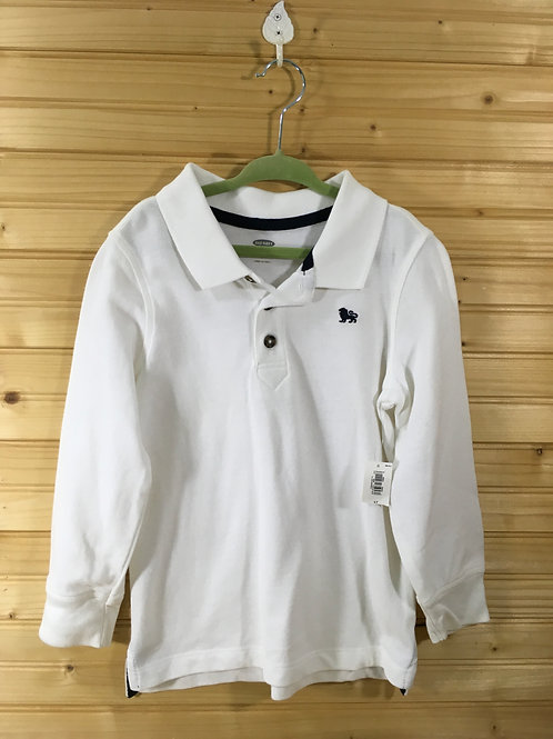 Size 4T Kids OLD NAVY White Long-Sleeve Polo NEW WITH TAG
