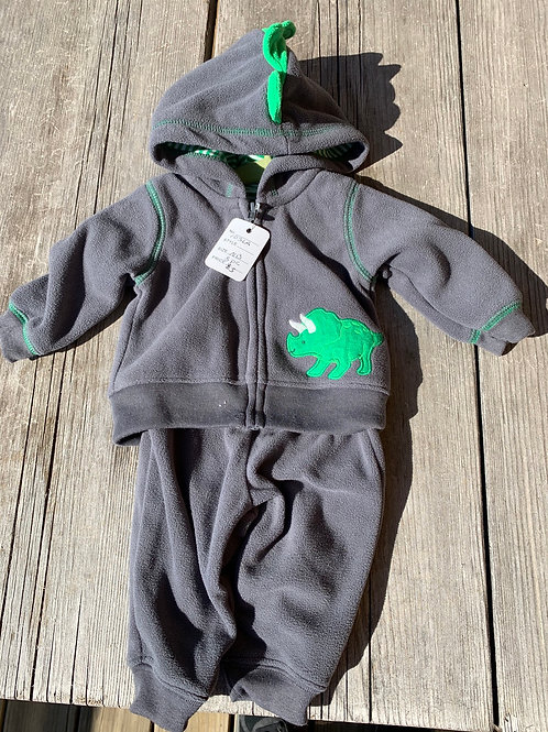 Size NB CARTER'S 3pc Dino Hoodie Outfit, Used