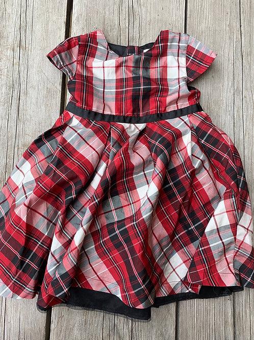 Size 2T JOE FRESH Red Plaid Dress, Used