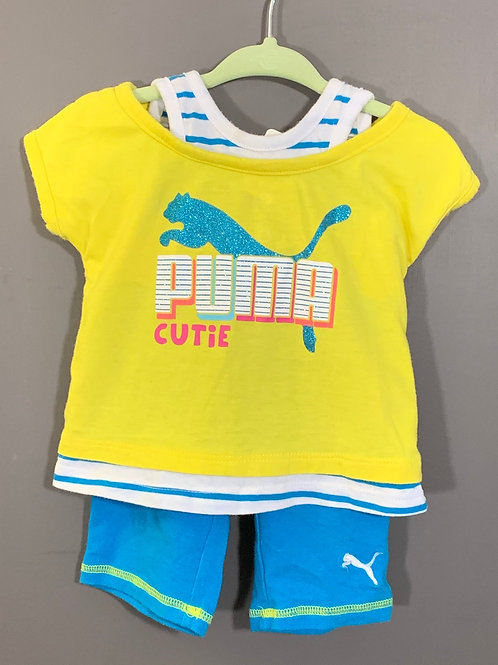 Size 12m PUMA Yellow and Blue Glitter 2pc Outfit, Used