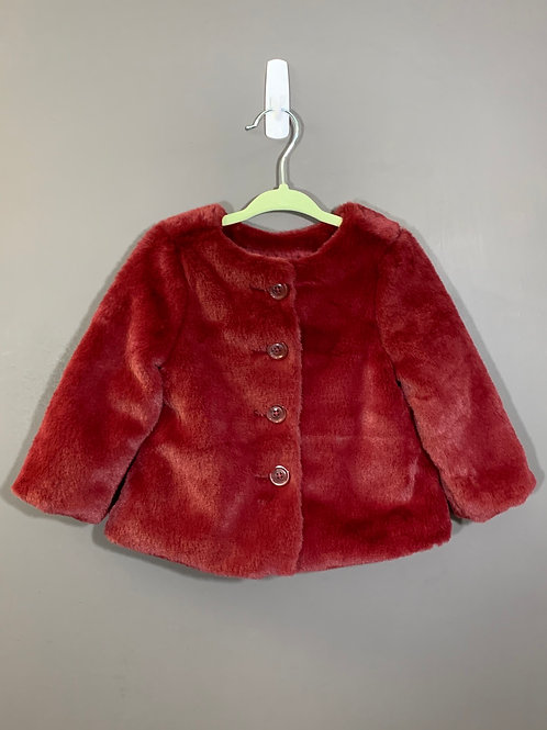 Size 12/18m OLD NAVY Fuzzy Burgundy Coat, Used