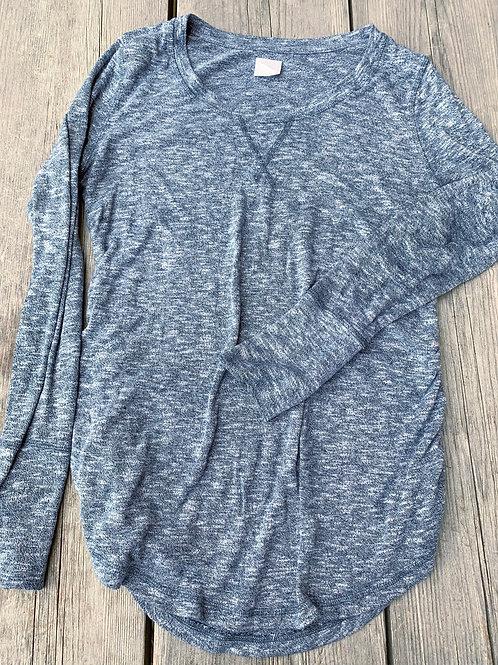 Size M Maternity LIZ LANGE Blue Grey Shirt