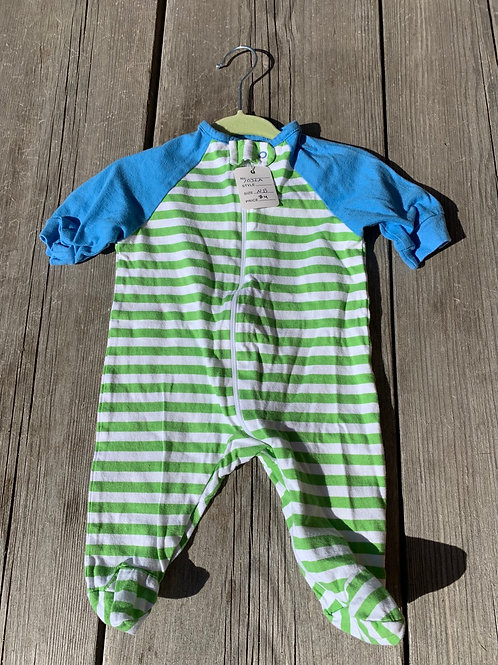 Size NB GERBER Striped Green and Blue PJ, Used
