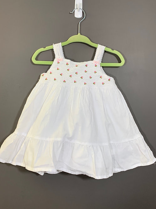 Size 12m CARTER's White Cotton Summer Dress, Used