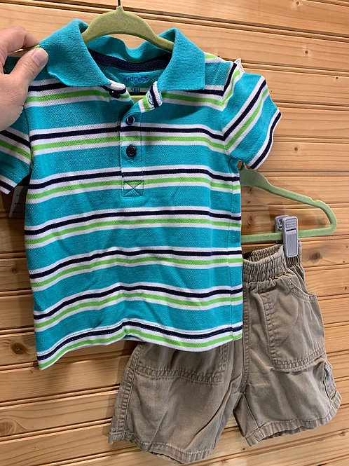 Size 18m Striped Polo and Tan Shorts