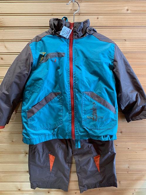 Size 3T DEUX PAR DEUX Teal and Brown Lined 3pc Wind Suit