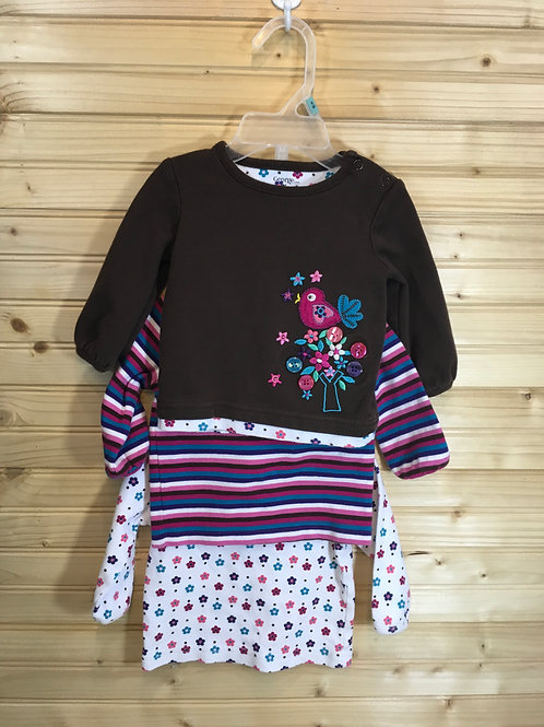 Size 6m GEORGE 3 Coordinating Long Sleeve Shirts - Brown Bird