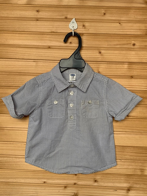 Size 6-12m OLD NAVY Grey Short-Sleeve Checkered Shirt, Used