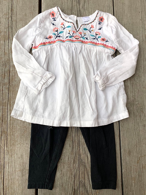 Size 24m CARTER'S White Top with Black Leggings