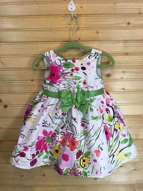 Size 3-6m GEORGE Satin Green Floral Dress