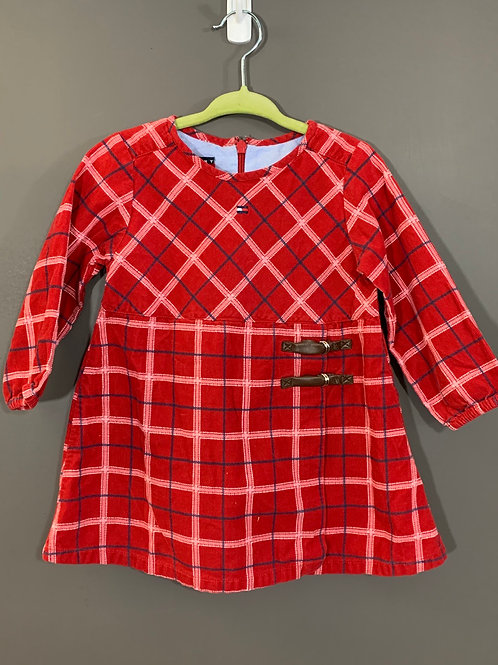 Size 12/18m TOMMY HILFIGER Red Plaid Dress, Used