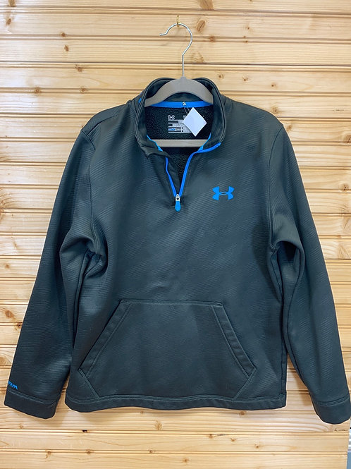Size YL UNDER ARMOUR Steel Grey and Blue Pullover, Used