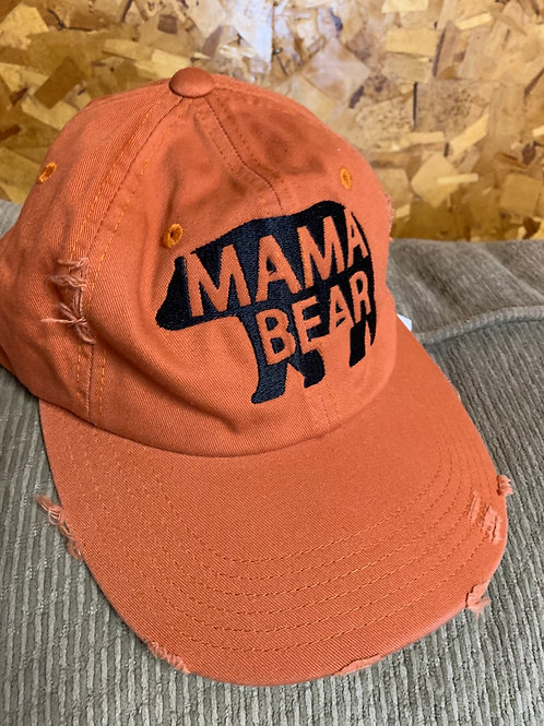 New Adult Size Baseball Hat - Mama Bear, Distressed Pumpkin