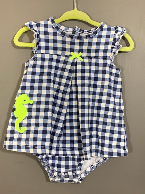 Size 12m CARTER'S Blue Check with Seahorse Onesie Dress, Used