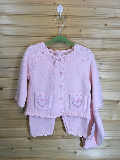 Size 6-9m DYLAN & ABBY New Pink Knit Layette Set