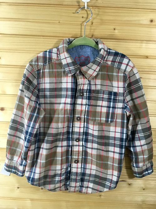 4T - Brown and Blue Plaid Long-Sleeve Shirt