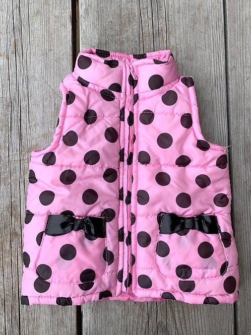 Size 2T Pink Puff Vest with Black Dots